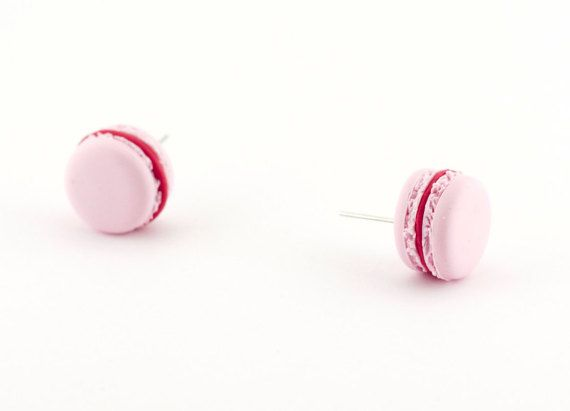 Strawberry french macaron earrings - baby pink macaron miniature - polymer clay pink macaron earrings