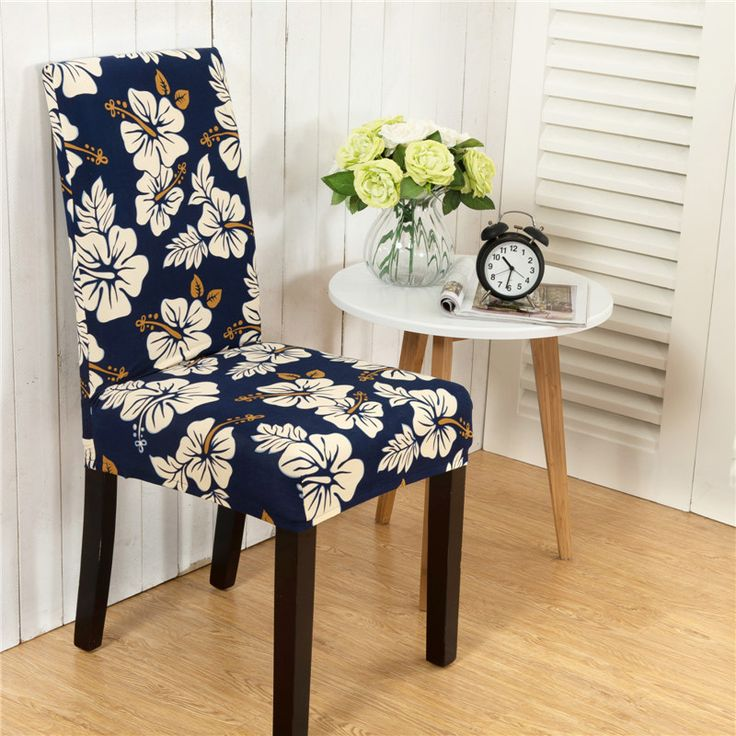 LFH Stretch Removable Washable Short Dining Chair Cover Protector Seat Slipcover Modern Anti-dirty Floral Stretch Chair Cover