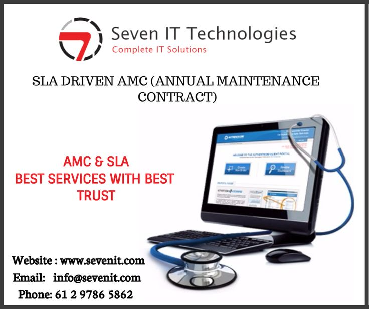 AMC (Annual Maintenance Contract) or SLA (Service Level Agreement) – is a contract that gives you the assurance that you have a backup service available round-the-clock.  Website : http://www.sevenit.com/amc-sla/   #sevenITTechnologies #tech #geek #hardware #technology