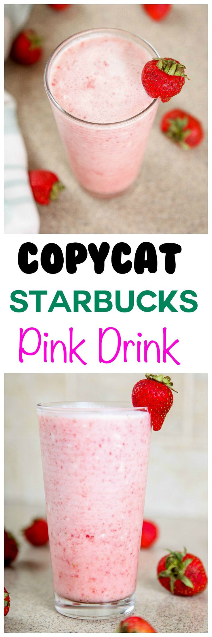 Starbucks Pink Drink Recipe: This creamy fruity drink tastes just like a pink starburst! The cutest and most refreshing summer drink ever!