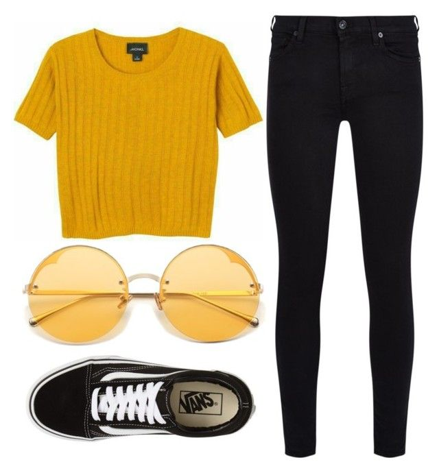 """Yellow Like The Sun"" by liaperezmorales on Polyvore featuring 7 For All Mankind and Vans"