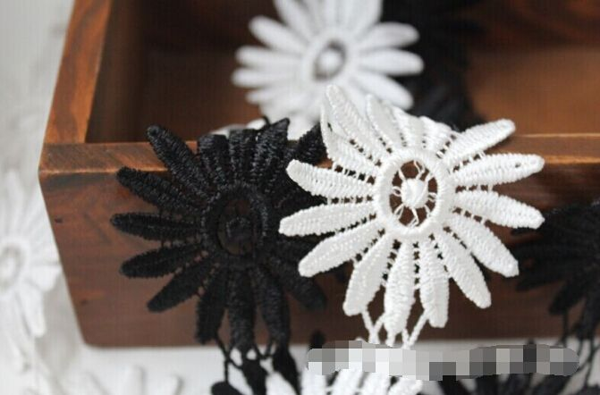 45$  Buy here - 43yards  white and black Sun Flower Venise/Venice Lace  Victorian Scalloped Lace Trim wide :6cm   #magazine