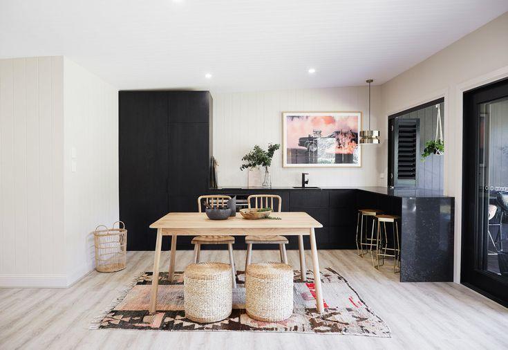Kitchen: Luxaflex Aluminium Shutters, Bi-fold, Black - Three Birds Renovations House 7, River Shack