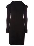 Womens Black Ruffle Halter Neck Dress- Black