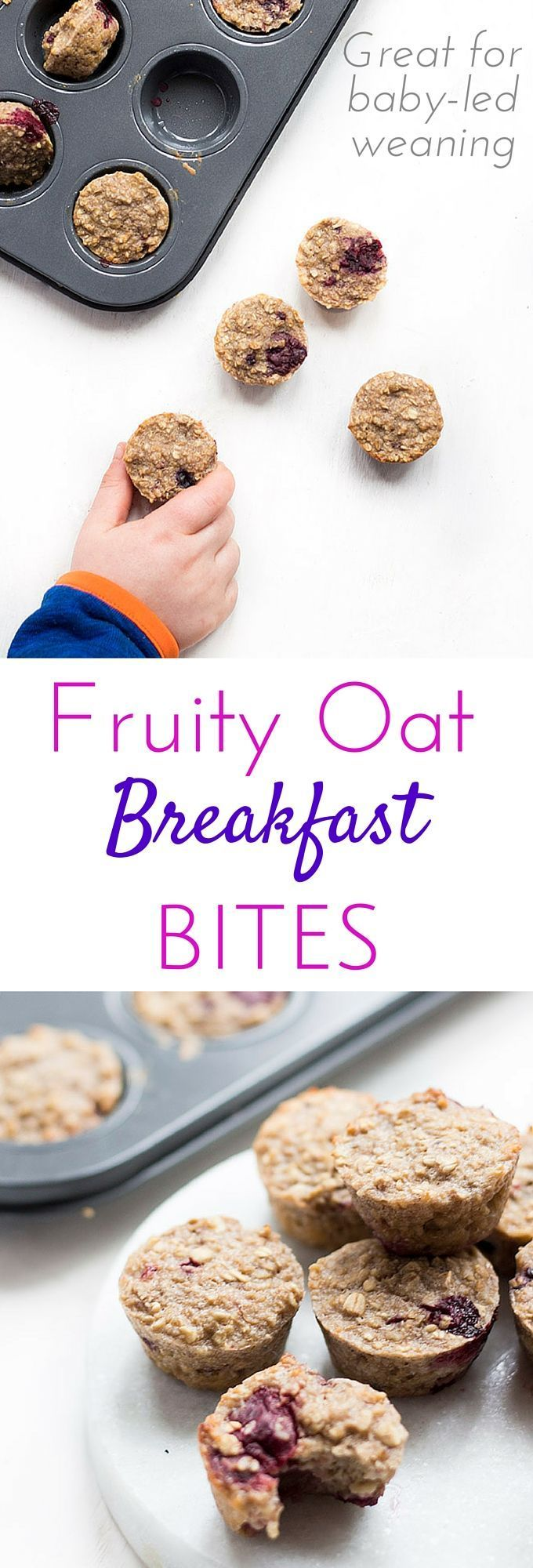 Fruity Oat Breakfast Bites. No refined sugar, sweetened only with fruit. Great for blw (baby-led weaning)