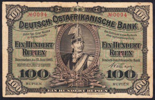 1905 German East Africa Kaiser Wilhelm II 100 Rupien Banknote Scarce # 0094
