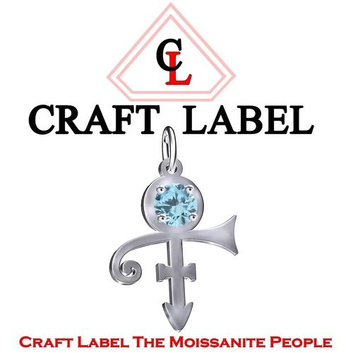 1 Ct Aquamarine Round Cut PRINCE Singer Artist Peace Symbol UNISEX Pendant - Death Anniversary 21st April. Starting at $1