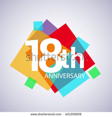 18th anniversary logo, 18 years anniversary colorful vector design. geometric background. - stock vector
