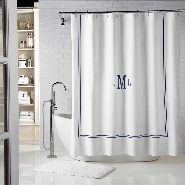 The Wamsutta Baratta Shower Curtain brings a crisp and