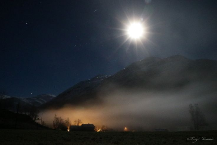 My home valley in Norway in the beautiful winter moonlight