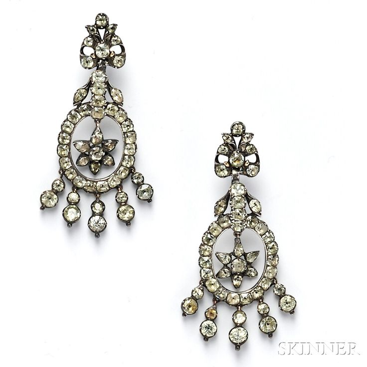 Antique Silver and Chrysoberyl Earpendants, 18th century, set with cushion- and pear shape chrysoberyls within closed foil backs, lg. 2 3/8 in.