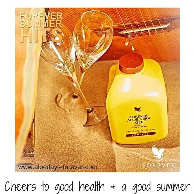 CHEERS TO GOOD HEALTH AND A GOOD SUMMER Enjoy a nice, cold glass of Forever Aloe Vera Gel during a summer beach day.  Even…