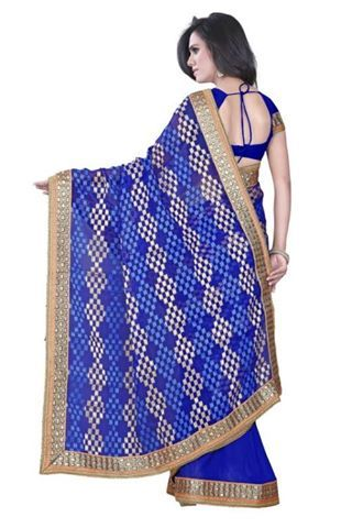 Blue Sarees @ 1320. Half Half Print Sarees With Heavy Border