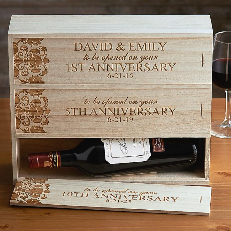 Anniversary Wooden Wine Box Personal Creations