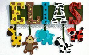 6 carta nombre Custom selva Zoo Safari Themed por AlbonsBoutique