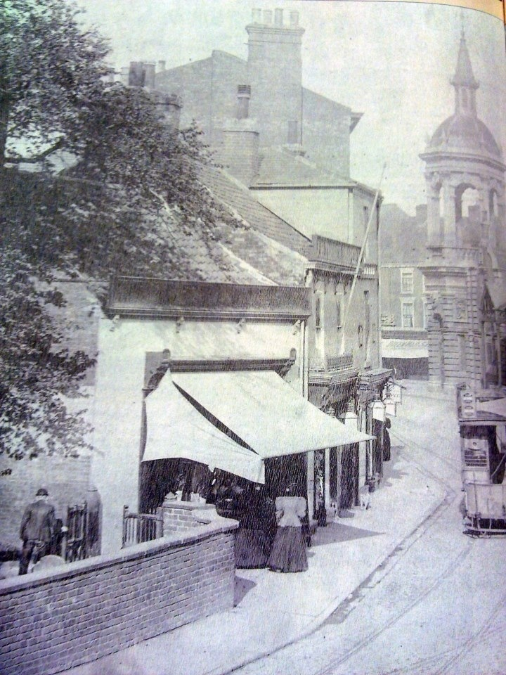 Grimsby - Bethlehem St looking towards Corn Exchange - st James Church is on left