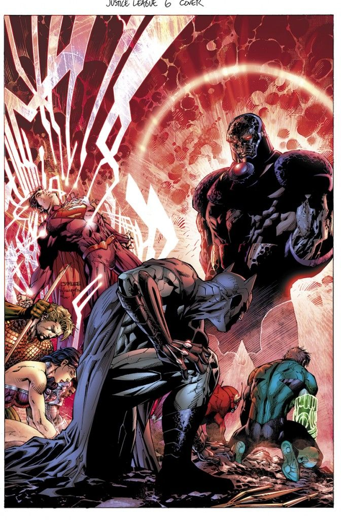 Batman, who, despite not having powers, fights with all his strength in defiance against Darkseid on the cover of Justice League # 6 (art by Jim Lee)