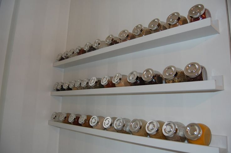 Accesories decors wall mounted ikea spice rack hang on white wall kitchen painted as decorate - Ikea kitchen spice rack ...