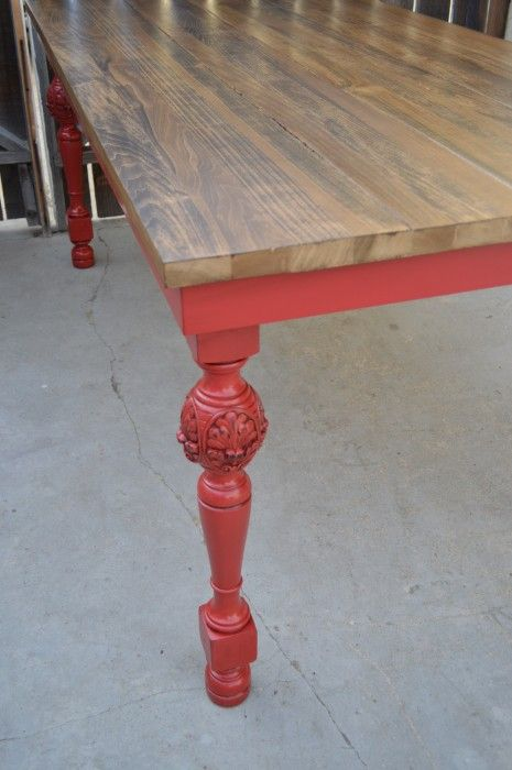 Custom Built Farm Table. The Antique Decorative Legs Have Been Painted Red,  Distressed And