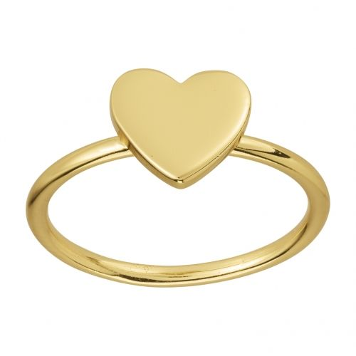 Heart mini ring in gold plated silver.