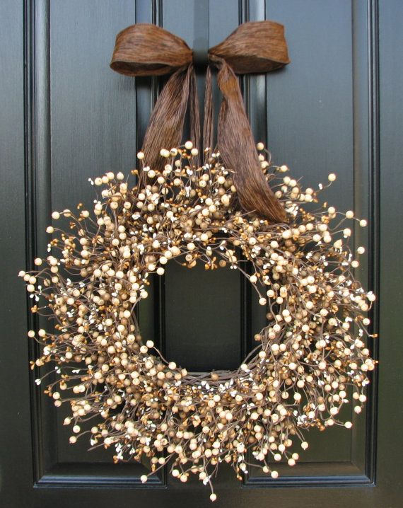 Wheat Fields Berry Wreath, Barley Fields, Outdoor Wreaths and Decorations, Fall Berry Wreath, Summer Wreaths, Year Round Wreath