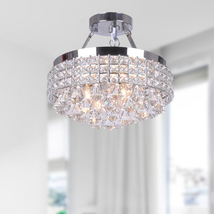 Captivating Antonia 4 Light Crystal Semi Flush Mount Chandelier With Chrome Iron Shade  By The Lighting Store