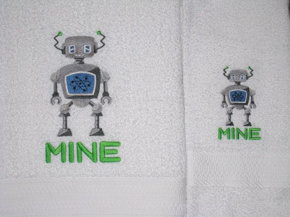 Add some fun to your bathroom with these geeky robots embroidered bath towel sets. The His towel has a robot with a bow tie. The Hers towel has a robot with a hair bow. The Mine towel is just unique.  The 2 Piece His and Hers Set includes two bath towels which are 30 by 54 inch. The 4 Piece His and Hers Set includes two bath towels and two hand towels at 16 by 28 inches. The Mine Towel set includes a bath towel and a hand towel  I have the 4 piece white set Picture 1, the Mine bath and hand…