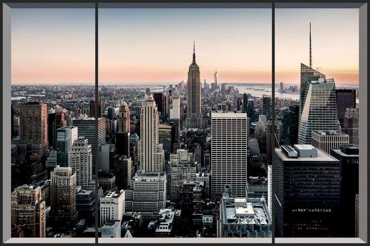 Фотообои Вид на Нью-Йорк, дизайн #06161 Предлагаю такие обои сделать во всю стену напротив двери. Остальные оклеить обоями под покраску и окрасить в нежно-серый