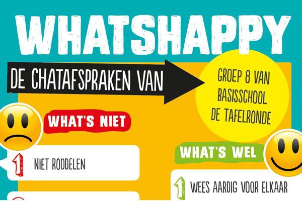 Leerlingen die ruzie maken via Whatsapp? Don't worry - geef ze een lesje 'WhatsHappy!' Deze les maakt problemen met chatten bespreekbaar en daagt leerlingen uit om met elkaar afspraken te maken over omgangsvormen op WhatsApp.