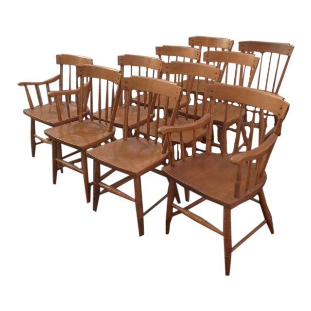 heywood wakefield wood dining chairs set of 10 mid century