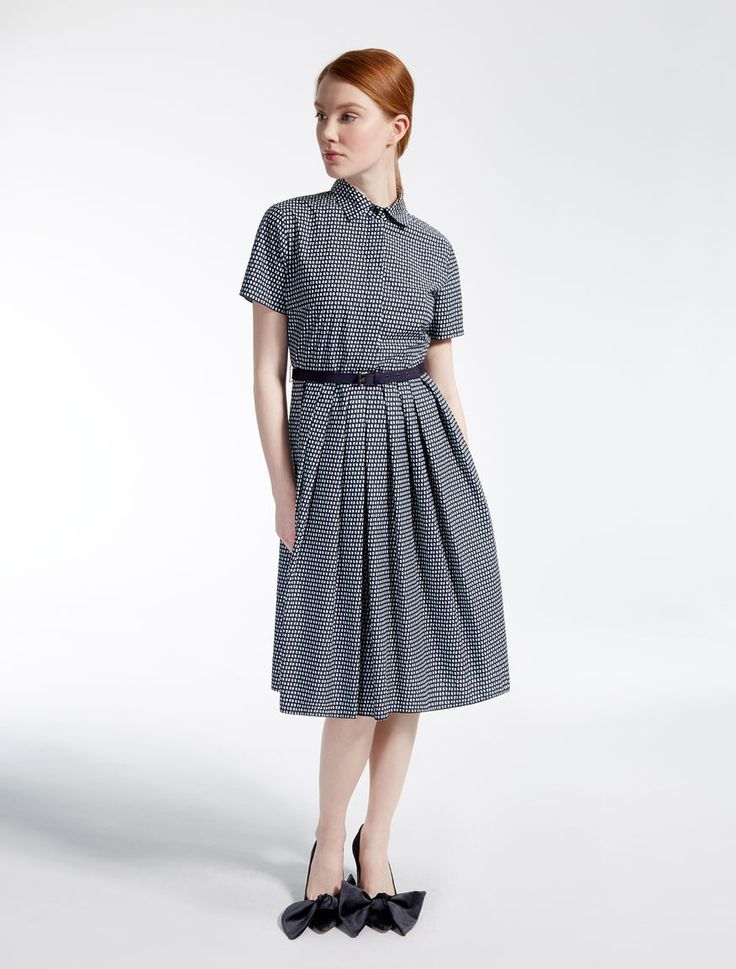 Cotton poplin dress, ultramarine - Weekend Max Mara Product page