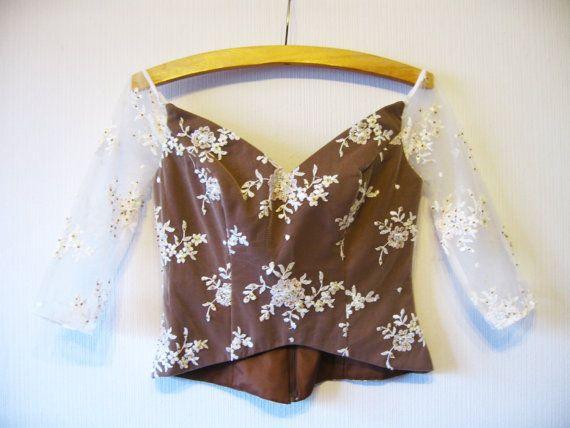 Marrone bianco pizzo corsetto camicetta Prom di VintageDreamBox