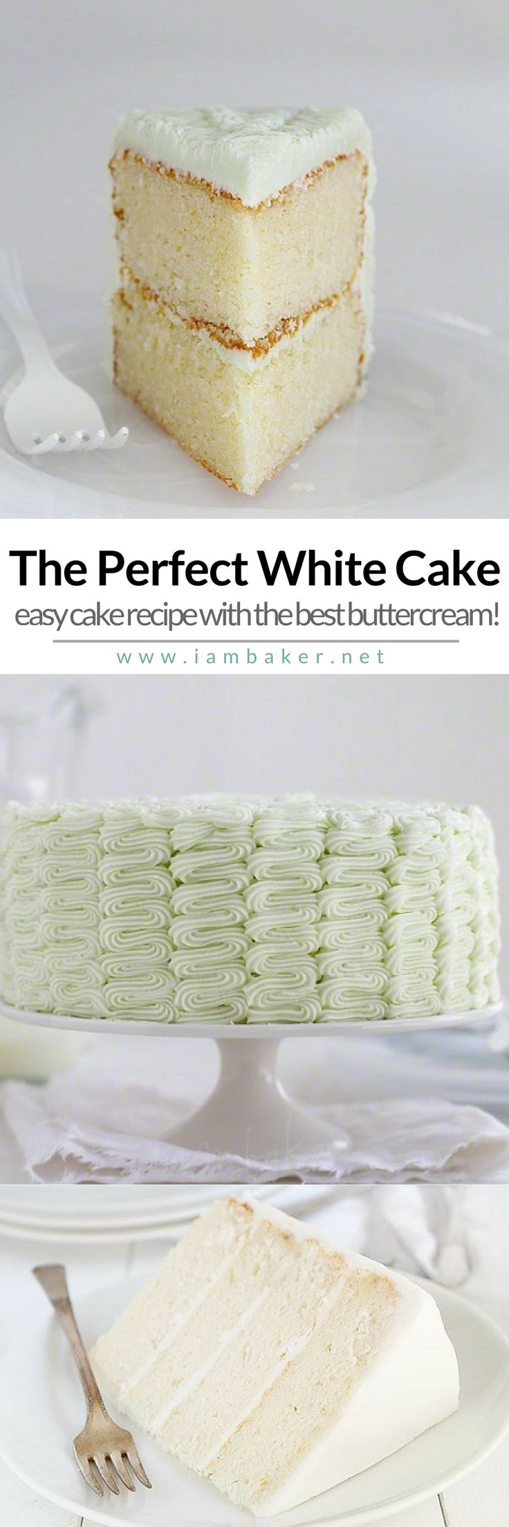 The best homemade white cake recipe-bakery style! The flavor is amazing and the texture is truly perfection.  Perfect white cake with the best buttercream! Visit @iambaker for more sweet cake and dessert recipes! #iambaker #iambakercake #iambakerdessert