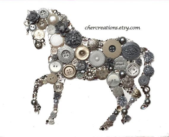 HORSE #44 Light Silver, 8x10 Button Art, Button Artwork, diy, ooak, filly, mare, pony, cowboy, western, wall art, country, stud, collages