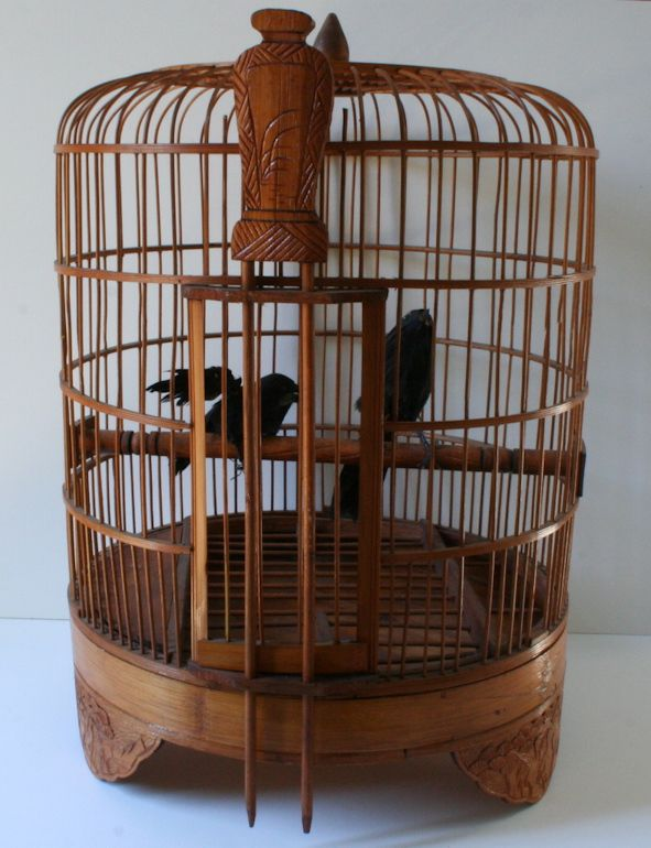 vintage large 20 bamboo wooden bird cage carved cranes and fans vintage 127 yard sale and. Black Bedroom Furniture Sets. Home Design Ideas