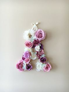 Wall letters Floral monogram Personalized wall by PaulettaStore