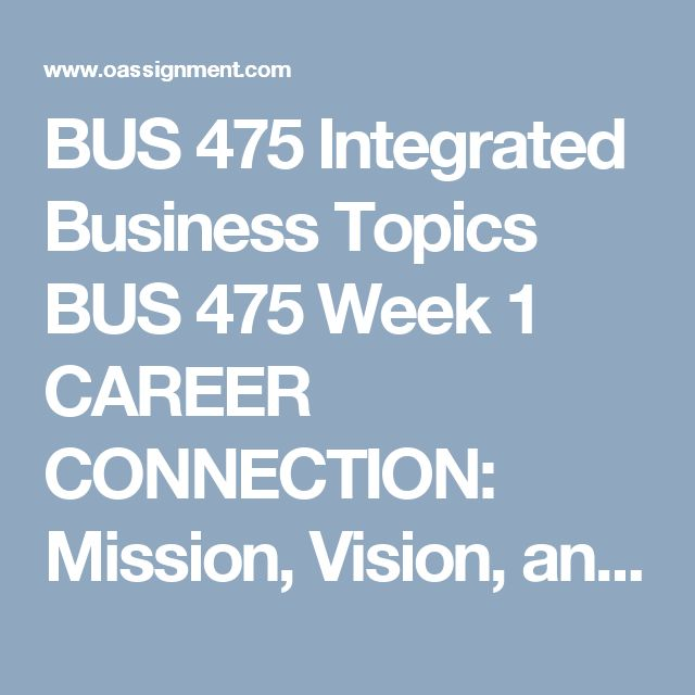 BUS 475 Integrated Business Topics  BUS 475 Week 1 CAREER CONNECTION: Mission, Vision, and You  BUS 475 Week 2 SWOT Paper  BUS 475 Week 2 Strategic Plan Part 1: New Product or Service  BUS 475 Week 3 Peer Review Analysis  BUS 475 Week 3 Strategic Plan Part 2: SWOT Analysis Paper  BUS 475 Week 4 Peer Review Analysis  BUS 475 Week 4 Strategic Plan Part 3: Balanced Scorecard and Communication Plan  BUS 475 Week 5 Peer Review Analysis  BUS 475 Week 5 CAREER CONNECTION: Final Strategic Plan