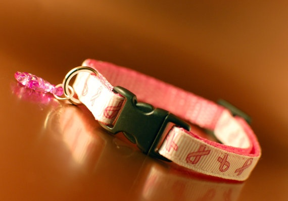 Cat Collar  Breast Cancer Awareness  20 to Cancer by PoppySeedCats, £6.00
