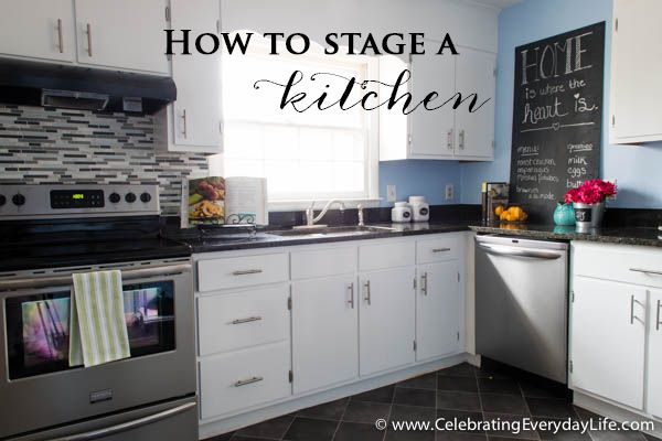 Tips for How to Stage your Kitchen when selling your home! Great ideas for refreshing your kitchen even if you aren't selling.