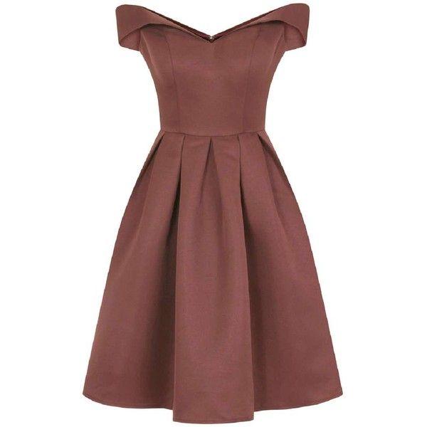 **Chi Chi London Fold-over bardot midi dress (1,950 MXN) ❤ liked on Polyvore featuring dresses, vestidos, brown, midi dress, brown midi dress, red pleated dress, pleated dress and pleated midi dress
