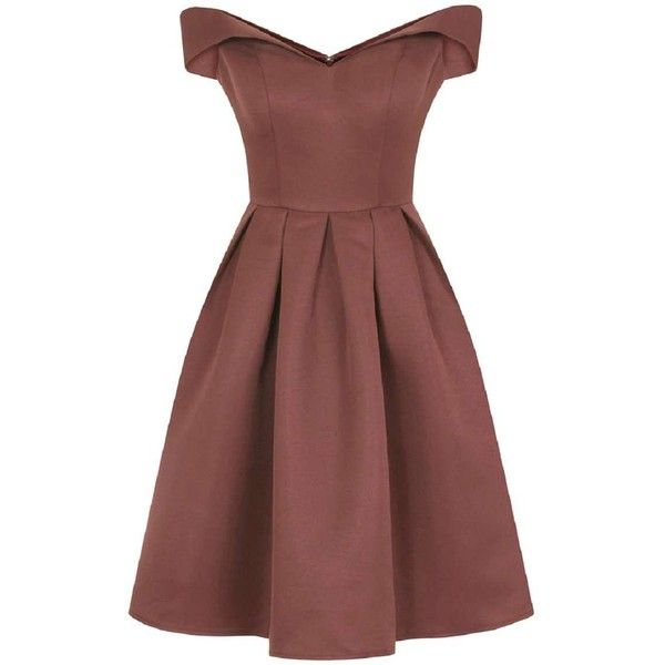 **Chi Chi London Fold-over bardot midi dress (£83) ❤ liked on Polyvore featuring dresses, brown, mid calf dresses, calf length dresses, brown pleated dress, brown dress and red midi dress