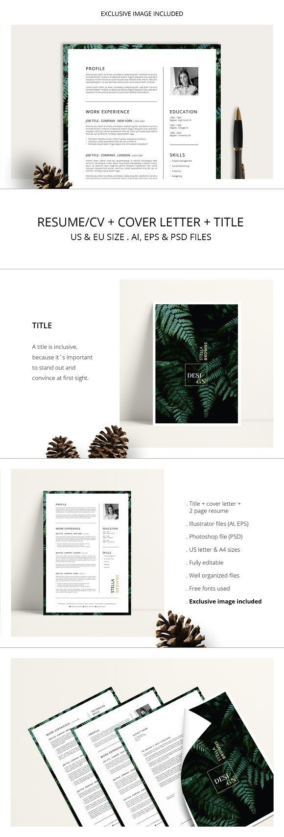 FERNS Resume/CV + Cover Letter by AgataCreate on @creativemarket #resume #cv #template #design #examples #student #skills #layout #creative #cover #letter #professional