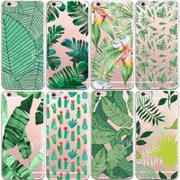 Soft Silicone Plants Cactus Banana Leaves Case For iphone 6 6S Transparent Clear TPU Phone Back Cover