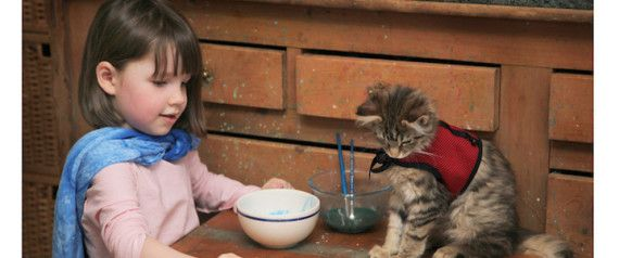 Child Artist With Autism Expresses Herself With The Help Of Her Therapy Cat