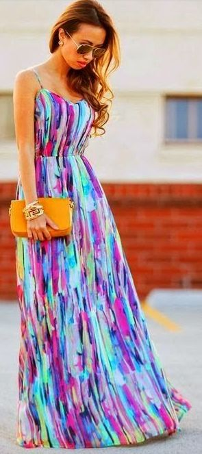 Multi color maxi. #summer love how maxi dresses dress up any event
