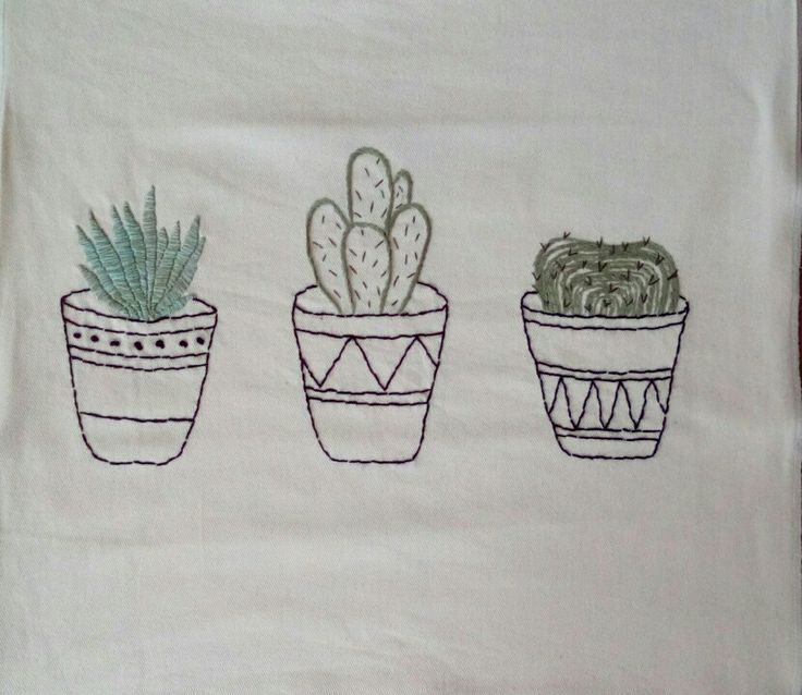 Hand-Embroidered cacti