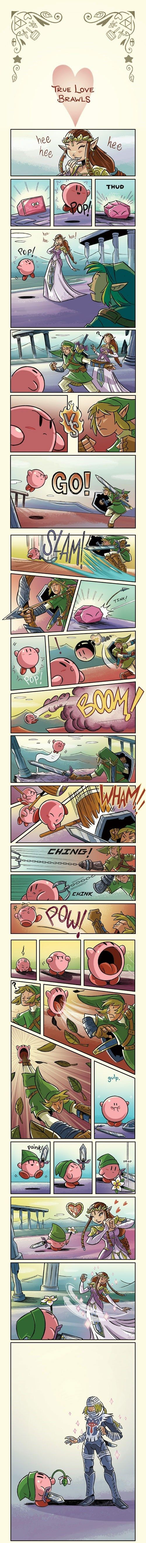 True Love Brawls. I'm pretty sure this was a gag about Kirby and Link fighting over Zelda, and then Zelda turning into Sheik, but this comic captures the fighting game aspect well, while still being visually stunning.
