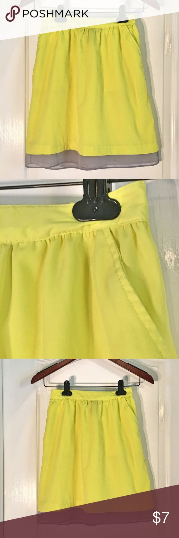 "Mossimo Neon Yellow & Gray Sheer Trim Skirt Mossimo Neon Yellow & Gray Sheer Trim Lightweight Skirt With Pockets ~ Size XS ~ 100% Polyester ~ Waist is 11 1/2"" (not stretched) ~ Length is approximately 18"" ~ Has a stretchy back waist ~ Mossimo Supply Co Skirts"