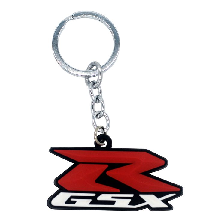 Motorcycle Keychain Key Chain Ring Key Pad Classic 3D Pendant Rubber Red White for Rider Driver Suzuki GSX Racer Racing