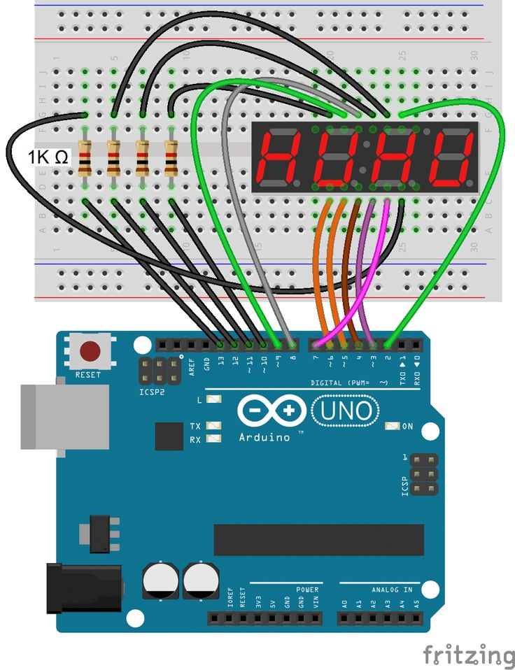 Arduino 7-Segment Display - 4 Digit Display Connection Diagram